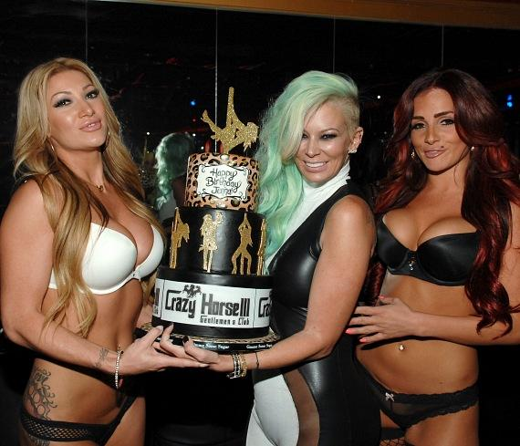 Jenna Jameson with cake and Crazy Horse III entertainers