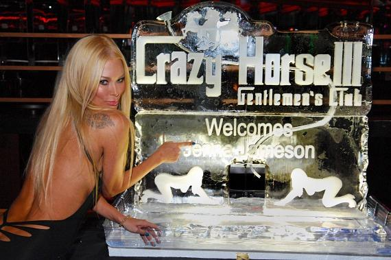 Jenna Jameson with personalized ice sculpture inside Crazy Horse III