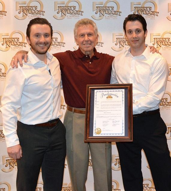 """Founder and General Manager of Jerry's Nugget Casino, Angelo Stamis (center), stands alongside sons, President and Director, Jeremy Stamis and Director and Vice President, Joseph Stamis, during the proclamation of """"Jerry's Nugget Day"""" on Wednesday, January 15."""