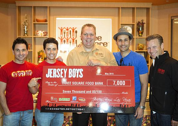 Jersey Boys cast members Travis Cloer, Graham Fenton, Jason Martinez and Daniel Robert Sullivan Present 7000 Meals to Three Square COO, Dan Williams
