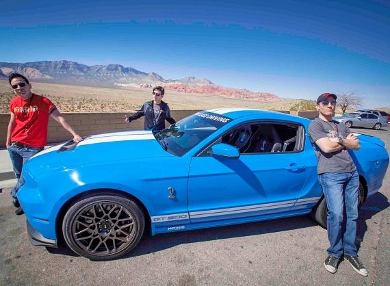 Boys cast enjoying the American Muscle Car Driving Experince
