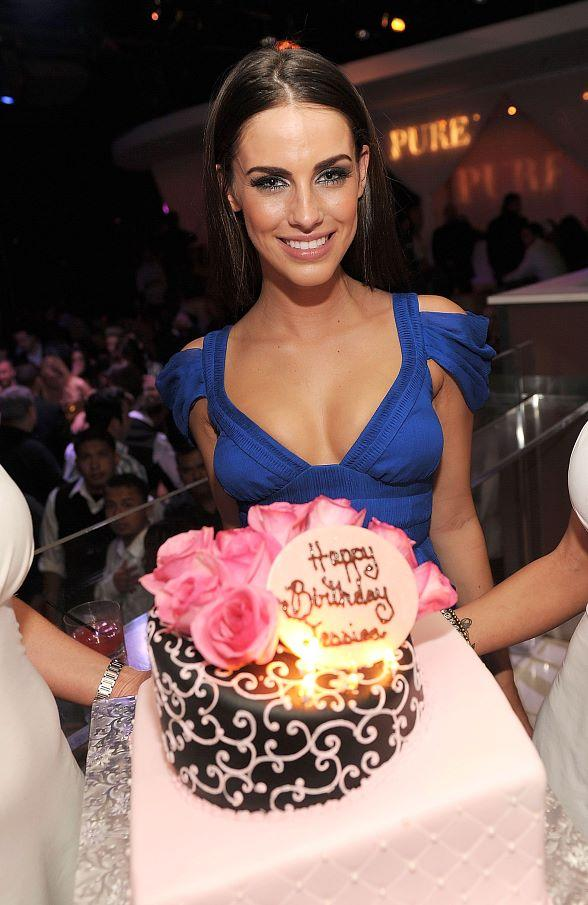 Jessica Lowndes with birthday cake at PURE Nightclub
