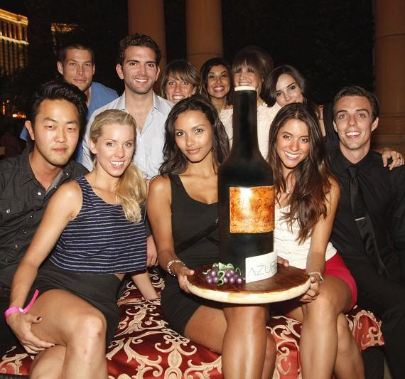 Jessica Lucas with friends and birthday cake