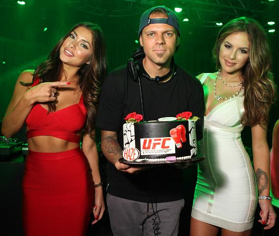 Arianny Celeste with Brittney Palmer as she gets Birthday Cake from DJ Loczi