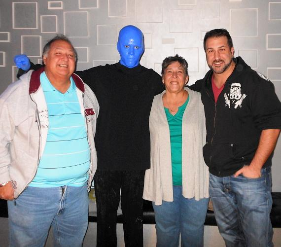 Joey Fatone with parents at Blue Man Group Las Vegas