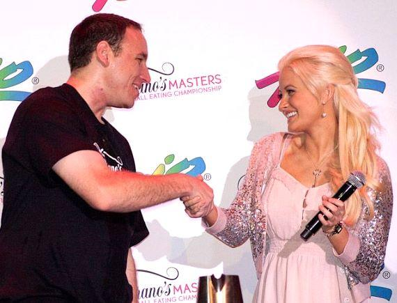 Winner Joey Chestnut with Holly Madison