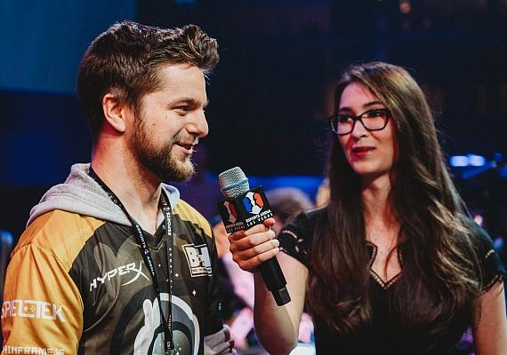 "John ""BaRRaCCuDDa"" Salter of Spacestation Gaming is interviewed by Esports Arena Las Vegas reporter Ovilee May after Spacestation Gaming won the Smite match"