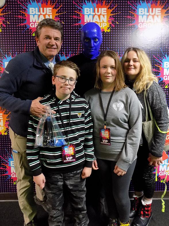 John Michael Higgins Attends Blue Man Group Las Vegas at Luxor Hotel and Casino