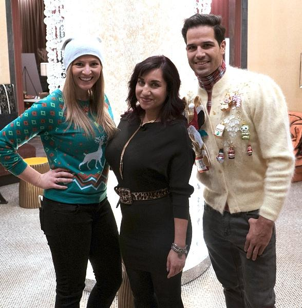 Ricardo Laguna, Aimee Montgomery and Laura Coronado judge Ugly Sweater Contest