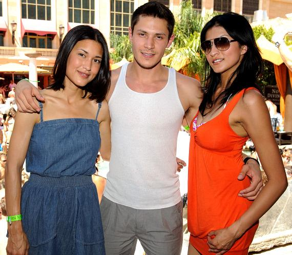 Twilight Wolfpack's Tinsel Korey, Julia Jones, Alex Meraz and LeBron James at TAO Beach