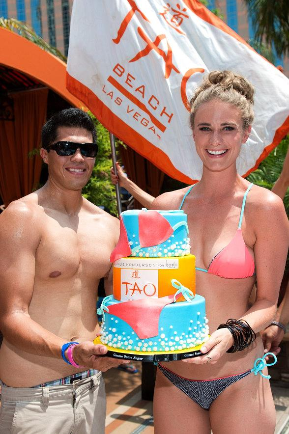 Julie Henderson with birthday cake at TAO Beach