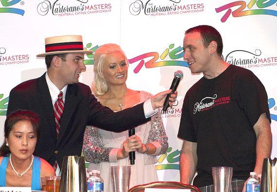 liet Lee, Mike Antolini of Major League Eating, Holly Madison, Joey Chestnut