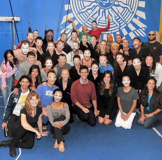 "Justin Bartha and his date Lea with cast of ""O"" by Cirque du Soleil"