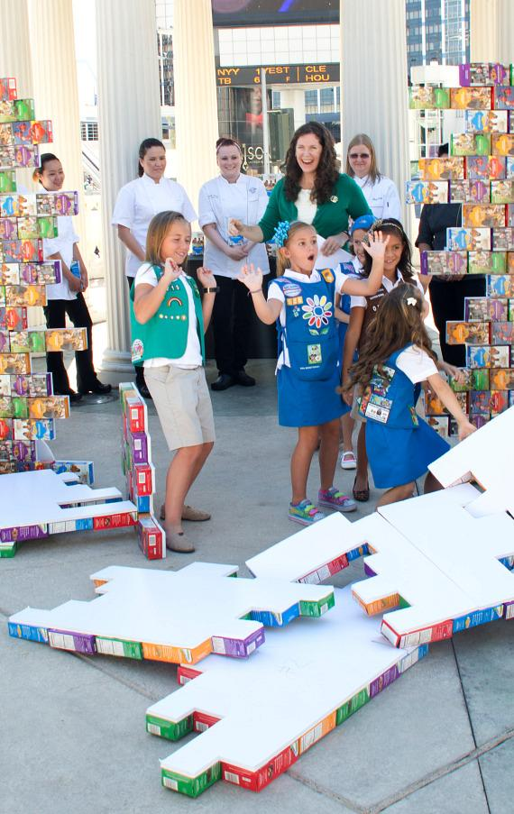 Life-size wall of cookie boxes comes down to reveal this year's chosen cookie