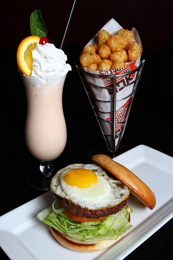 KGB: Kerry's Gourmet Burgers at Harrah's Las Vegas' July burger and shake of the month combo: breakfast burger and creamsicle shake