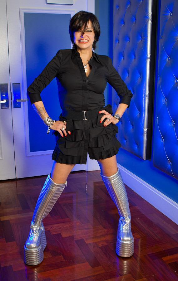 Celebrity Chef Carla Pellegrino rocks out in the Famous KISS Boots