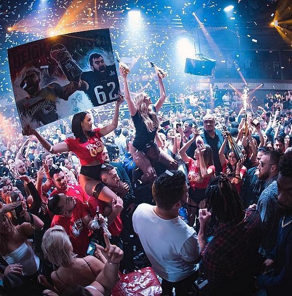 Kansas City Chiefs at JEWEL Nightclub inside ARIA Resort & Casino in Las Vegas on Feb. 7
