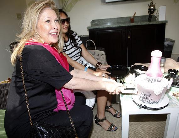 Kathy Hilton enjoying cake