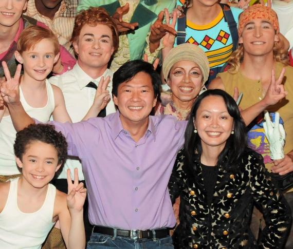 Ken Jeong and wife backstage with The Beatles LOVE cast