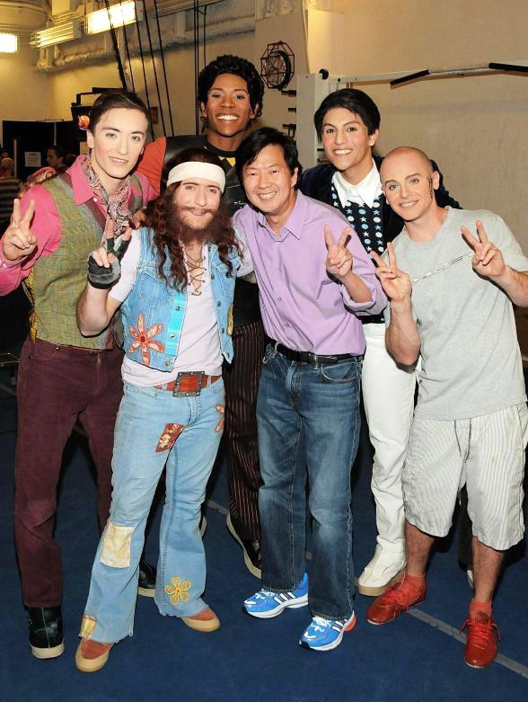 Ken Jeong backstage with The Beatles LOVE cast