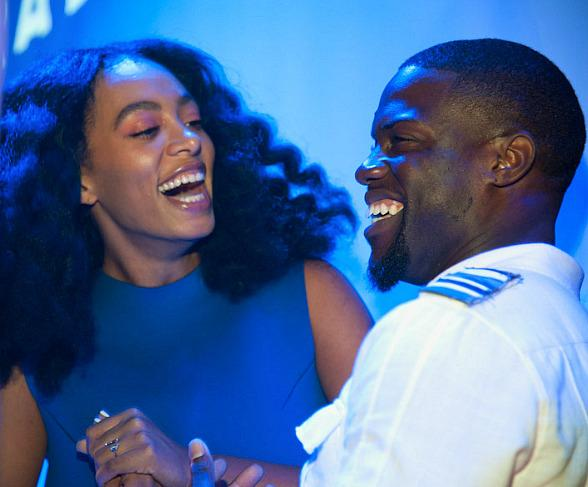 Singer Solange Knowles DJing Kevin Hart & Friends Comedy All-stars at Rose. Rabbit. Lie. at The Cosmopolitan of Las Vegas