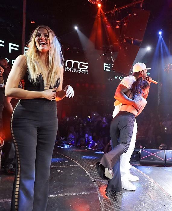 Khloe and Kourtney Kardashian Take the Stage with 50 Cent at Official Billboard Music Awards After Party at Drai's Nightclub in Las Vegas