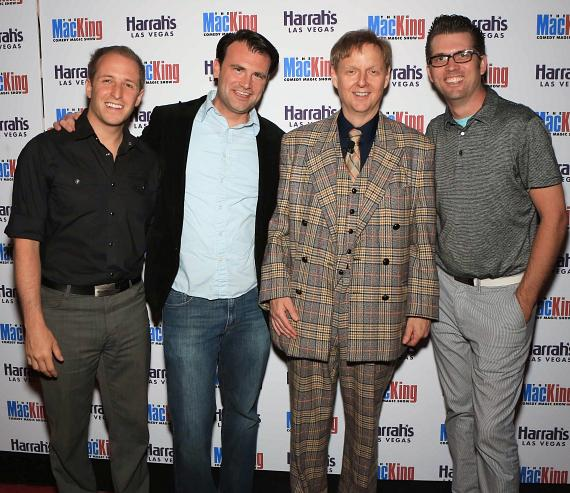 Cast members of Million Dollar Quartet pose with Comedy-Magician Mac King on the red carpet during King's 13th Anniversary celebration at Harrah's Las Vegas.