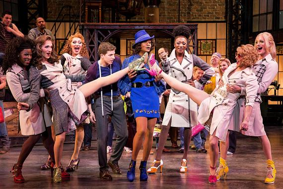 Kinky Boots on Broadway - Stark Sands, Billy Porter, The Angels (L-R: Kyle Taylor Parker, Charlie Sutton, Joey Taranto, Kevin Smith Kirkwood, Paul Canaan, and Kyle Post), and cast