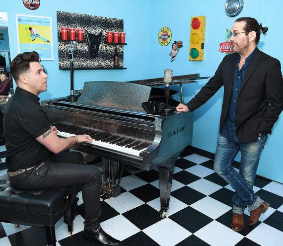 "Frankie Moreno rehearses with Kip Winger backstage at ""Frankie Moreno - Under the Influence"" at Planet Hollywood Resort & Casino"