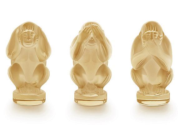 LALIQUE Wisdom Monkey Ornaments in Gold Lustre Crystal