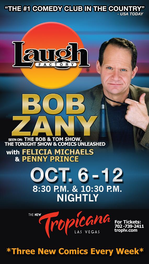 Comedian Bob Zany to Headline at Laugh Factory in Tropicana Las Vegas Oct. 6-12