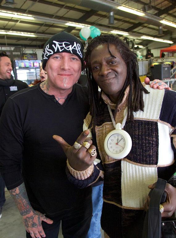 Tattoo artist and musician Dirk Vermin with Flavor Flav