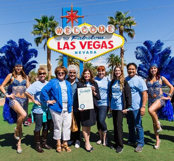 Touro University Nevada turns Welcome to Las Vegas sign BLUE in honor of Autism Awareness month