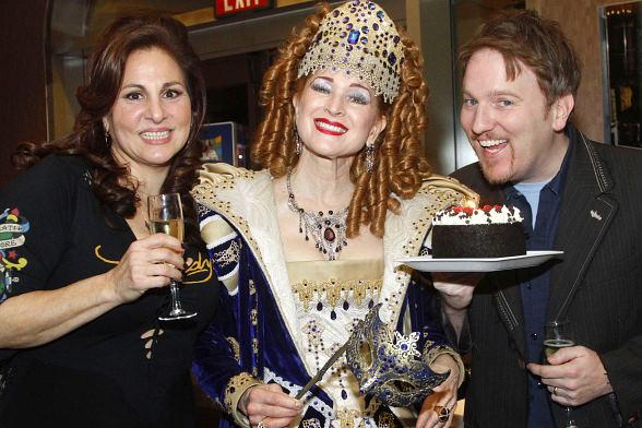 Kathy Najimy and her husband Dan with Suzanne the Opera Singer and Cake