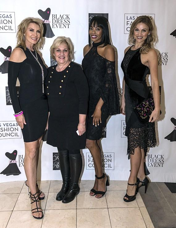 LVFC President Carrie Cooper Joins Saks Fifth Avenue Marketing Director Debbi Miles and Models at the 2017 LVFC Little Black Dress Event