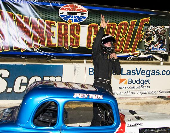 Peyton Saxton of Las Vegas wins 25-lap Legends feature