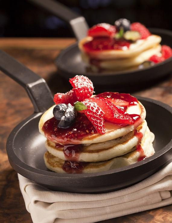 Pancakes with berry compote