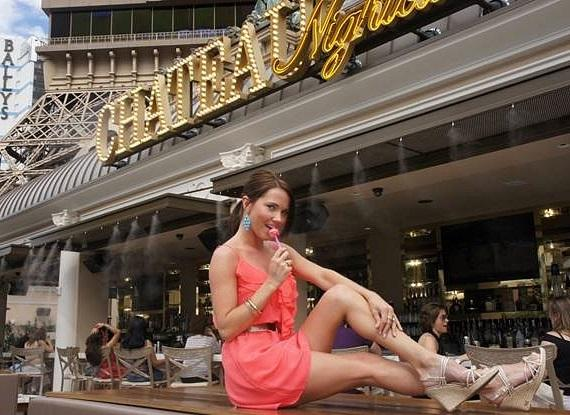 Playmate Stephanie Larimore at Chateau Beer Garden with a Couture Pop from Sugar Factory at Paris Las Vegas