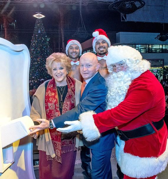 Las Vegas Mayor Carolyn Goodman and Patrick Hughes celebrate the holiday season with official Christmas tree lighting