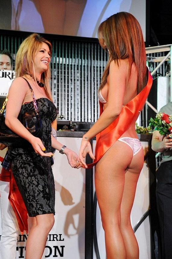 Laura Croft sashing Miss Knockout Winner Jeannie Duffy at Studio 54 Las Vegas