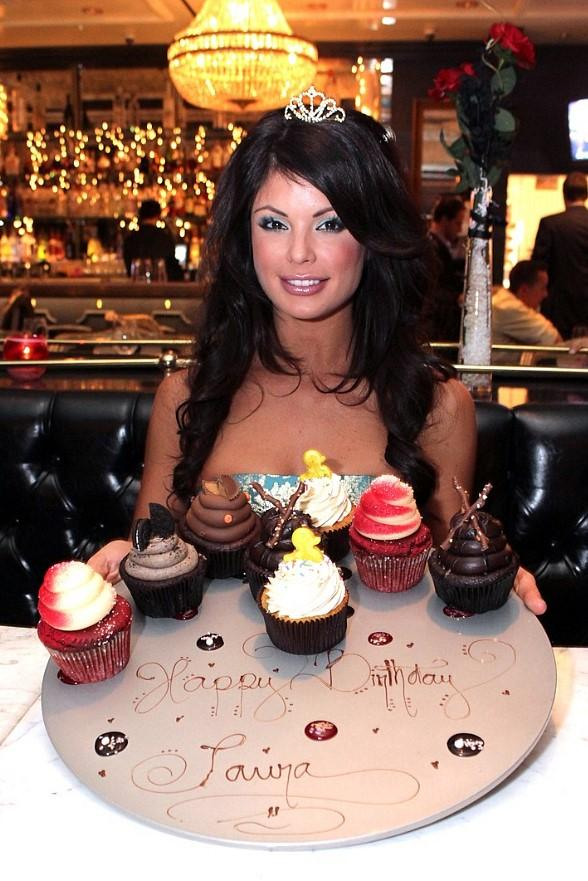 Laura Croft with birthday cupcakes at Sugar Factory American Brasserie at Paris Las Vegas