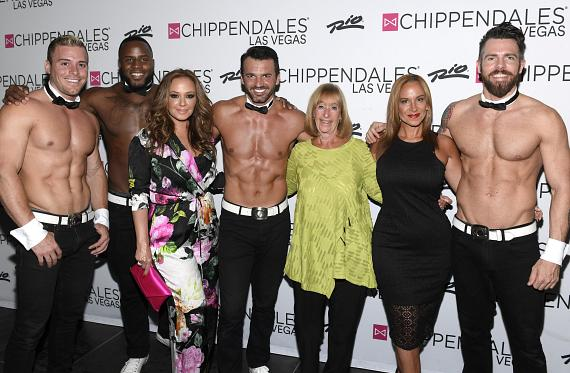 Emmy Award Winning Actress Leah Remini with Mom and Sister at Chippendales at the Rio All-Suite Hotel & Casino in Las Vegas