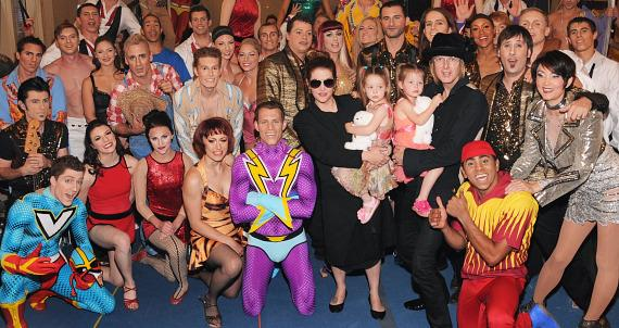 Cast of Viva ELVIS with Lisa Marie, husband Michael Lockwood and twins Harper and Finley