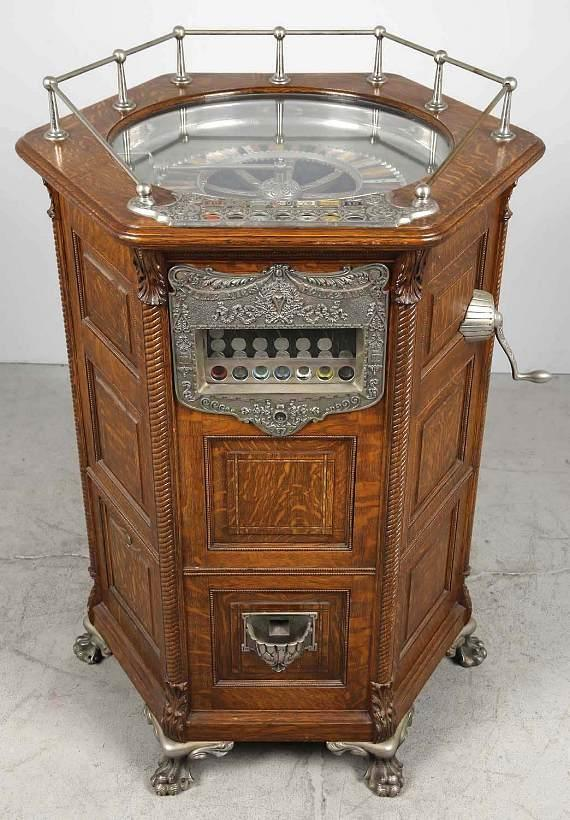 Lot #306, an extraordinarily rare circa 1905 5¢ Mills roulette slot machine in phenomenal, all original condition took in $289,050
