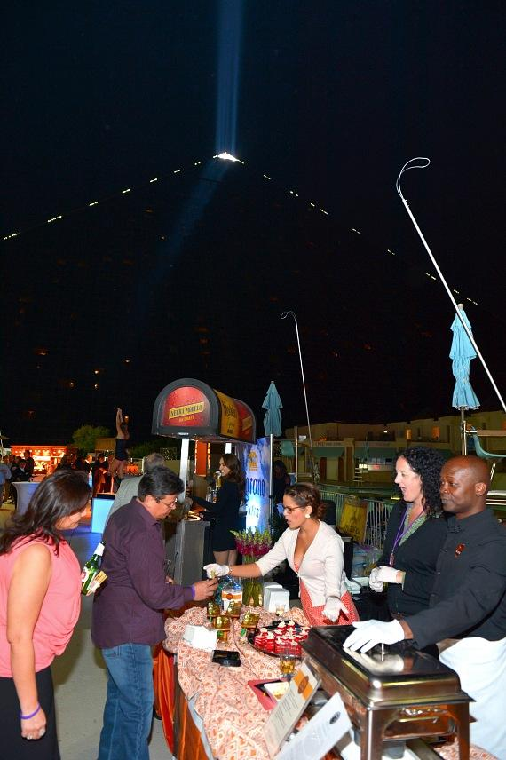 Guests enjoy the poolside dine-around at Luxor Hotel and Casino
