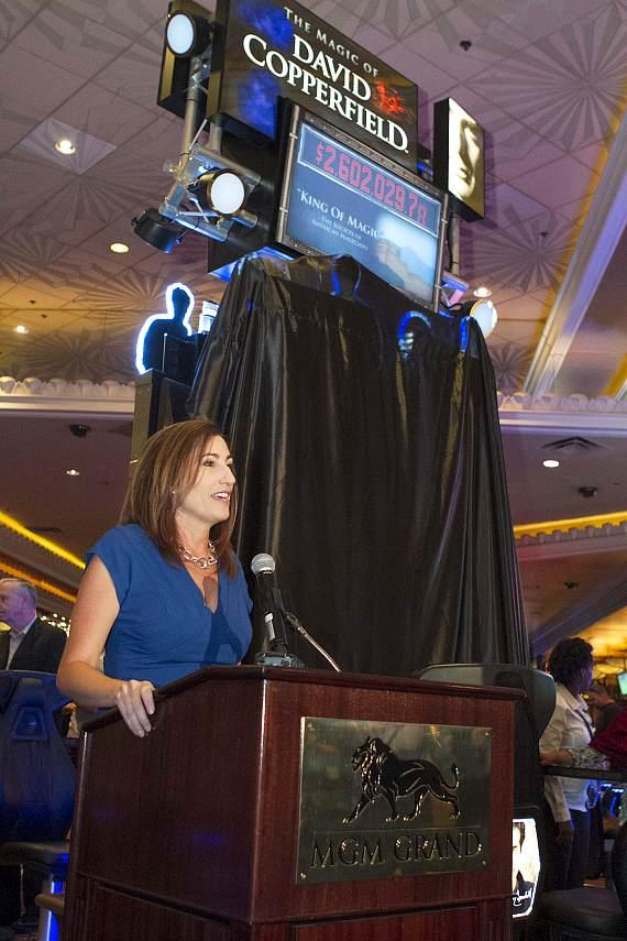 Bally Technologies' Jean Vennimen (Vice President of Product Management and Licensing) discusses David Copperfield's new slot machine The Magic of David Copperfield at MGM Grand prior to its unveiling on June 26, 2014.