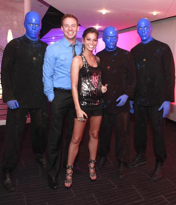Melissa Rycroft and Tye Strickland backstage with The Blue Man Group