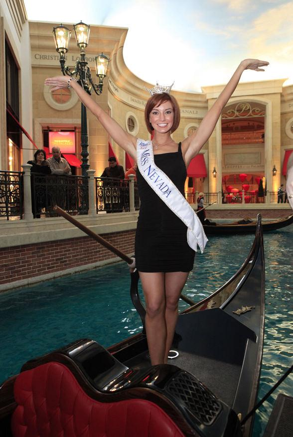 Miss Nevada rides gondola at The Venetian