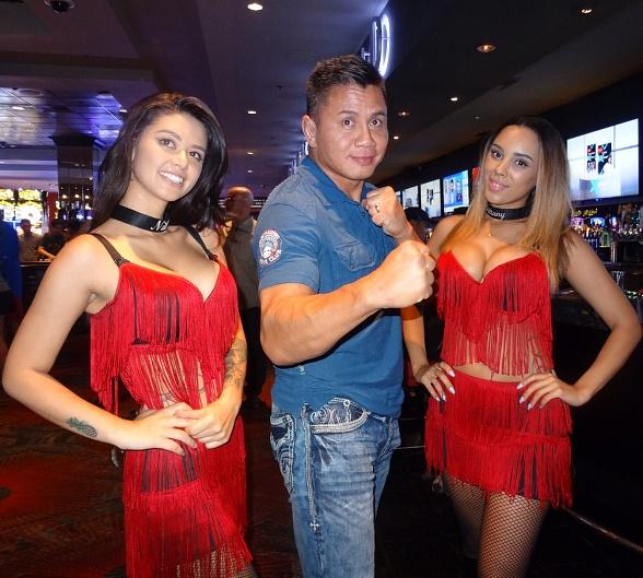 MMA star Cung Le dines and parties at the D Casino Hotel Las Vegas