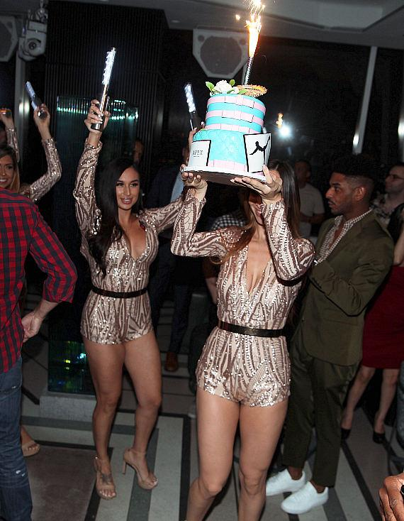 Jen Selter presented with birthday cake at Newly Opened Las Vegas Hotspot APEX Social Club at Palms Casino Resort